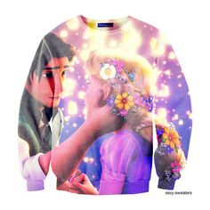 tangled | Tumblr ❤ liked on Polyvore featuring tops, sweaters, sexy sweaters and disney