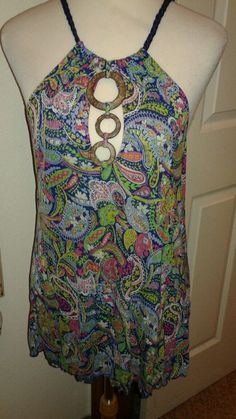Free  People  Ladies  knit  Halter  top  Paisley SZ M keyhole  neckline  #FreePeople #Halter #Casual
