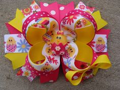 Easter Hair Bow  Large Twisted Boutique Spike by MyLuckyHairBow