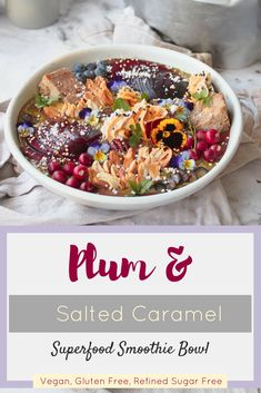 Charge your batteries with this deliciously decadent Plum and Salted Caramel Smoothie Bowl! Packed with nutrition and bold flavours, you'll want to savour every spoonful! Power Smoothie, Smoothie Bowl, Smoothies, Olive Recipes, Superfood, Sugar Free, Plum, Caramel, Spices