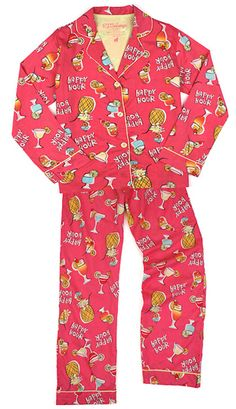 "PJ Salvage Women's Playful Prints ""Happy Hour"" Cotton Pajama Set in Fuchia $63 - SHOP http://www.thepajamacompany.com/store/18706.html?category_id=4256"
