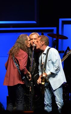 Timothy B. Schmit, Joe Walsh and Glen Frey of the Eagles perform during 'History of the Eagles Live in Concert' at the Bridgestone Arena on ...
