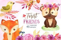 Watercolor Forest Animals Set - Free Design of The Week from DesignBundles.net
