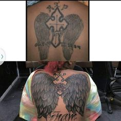 A cover up performed by Mike Scarlett...  #cooltattoos #tattoo #exciting #customtattoo #whatever #art #artist #artwork #yes #people # wings tattoo #orlando #florida #floridalife #prayer #prayersup #healthy #roses