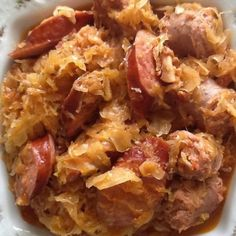 This recipe comes from my great-grandmother.  She came over from Yugoslavia when she was 15 yrs old and landed at Ellis Island.    During the depression my family was lucky enough to have owned a butcher shop.  However, even though she owned this, she gave her customers the better qualities of meat and fed her family everything else.  This recipe is hearty and filling and goes a long way and costs very little.   You can also substitute hotdogs for the keilbasa.