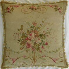 Gorgeous antique French Aubusson decorative pillow