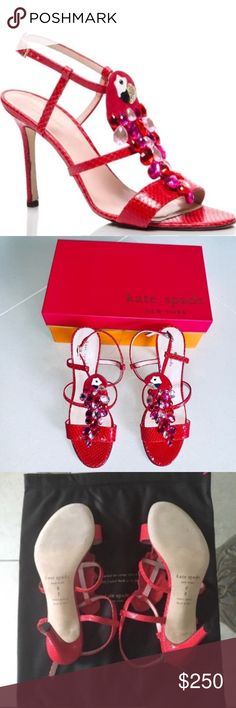 b8155e68f Kate Spade IDALOU Red Python Leather Heels 8 Stride down the sophisticated  road of fashion with
