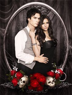 The Vampire Diaries . Damon and Elena . by Katerina-Petrova Vampire Daries, Vampire Diaries Damon, Vampire Diaries The Originals, Damon Salvatore, Ian Somerhalder, Nina Dobrev, Beaux Couples, Tv Couples, Romantic Couples