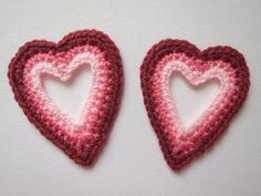 "1pc 4.5"" Crochet Pink OPEN HEART Applique"