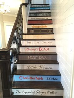 What an adorable idea for stairs! We saw this in a Parade of Homes. I would like to do this, with my very favorite book titles. This would help children develop a love for reading, don't you think?