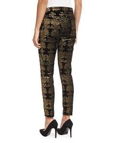 TCP6S 7 For All Mankind The Skinny Ankle Brocade Velvet Jeans