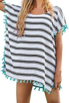 Yonala Women's Classic Striped Tassel Chiffon Beachwear Bikini Swimwear Cover Up Bikini Cover Up, Swimsuit Cover Ups, Swim Cover, Bikini Top, Outfit Zusammenstellen, Moda Boho, Bathing Suit Covers, Bathing Suits, Striped Swimsuit