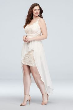 A plunging-V neck lace plus-size mini dress with scalloped edges at the bodice is paired with a high-low chiffon skirt overlay for a dramatic and too-cool party look. By Morgan & Co. Plus Size Formal Dresses, Plus Size Outfits, Davids Bridal Sale, Shower Outfits, Necklines For Dresses, Chiffon Skirt, The Dress, Homecoming Dresses, Evening Gowns