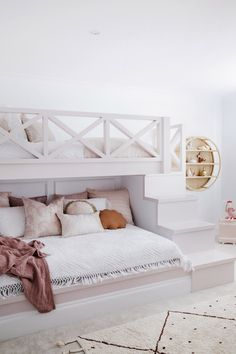 House 11 - Colour Me Hamptons Renovation Kids Room Bunk Beds Feature Walls Colours Girls Room Pink Room Transformation Kids Bedroom Designs, Bunk Bed Designs, Cute Bedroom Ideas, Room Ideas Bedroom, Bed Ideas, Decor Ideas, Room To Room, Cool Room Designs, Space Saving Bedroom