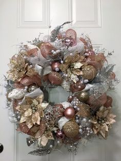 "Chanel theme for this beautiful 28"" Christmas Tulle Mesh Wreath - silver, white, champagne and rose (blush) colors, filled with an assortment of ribbon, ornaments, pearl picks and champagne poinsettias."