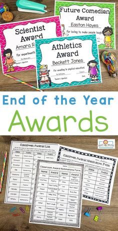 EDITABLE End of Year Awards - This set includes 202 pages of award certificates, teacher nomination forms, student nomination forms, note home to parents, and diplomas. I have also added blank award templates for you to add in your own award titles. Great for preschool, Kindergarten, 1st, 2nd, 3rd, 4th, and 5th grade. Click through to see each award now! (Color and b&w options available) #EndOfYearAwards #EndOfYear #Elementary #EndOfTheYear Google Classroo, 5th Grade Classroom, Classroom Ideas, Award Names, A Beka, Award Template, Award Certificates, End Of Year, Preschool Kindergarten