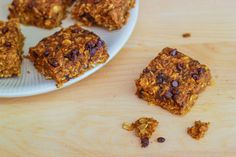 Pumpkin Chocolate Chip Oatmeal Bars - I've got to try these, only need to substitute gluten free flour!