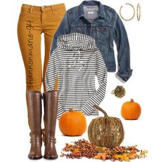 Casual Fall: Mustard jeans, blue jean jacket, yellow/blue striped hoodie, dark brown riding boots
