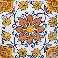Mexican ceramic talavera tile. Hand painted clasic colonial & folk art tile patterns from Mexico.