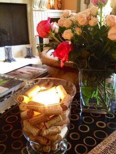 Using an old vase, a few wine corks and a glass candle, I was able to create this in less than 5 minutes.