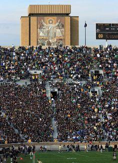 """Touchdown Jesus"" - Notre Dame Stadium, South Bend, IN Notre Dame Football Stadium, Nd Football, Sports Stadium, College Football Teams, Oregon Ducks Football, Ohio State Football, Football Stadiums, Football Quotes, American Football"