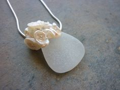 Sea Glass Necklace With Keshi Pearls Wedding White