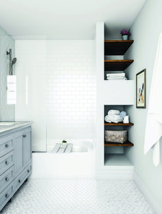 Go for the classic, all-white bathroom. The look stays interesting with complementary mosaic and subway tile shapes. A touch of light gray at the vanity and dark brown shelves balance the look, but…More White Bathroom Tiles, Grey Bathrooms, White Tiles, Bathroom Flooring, Master Bathroom, Shower Bathroom, Bathroom Ideas, Bathroom Designs, Home Depot Bathroom Tile