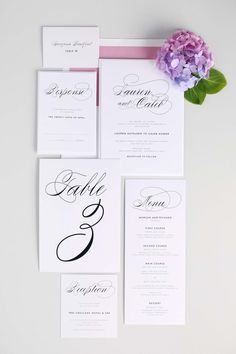 Wedding Invitation Day-of Accessories - Elegant Table Numbers, Menu, Place Cards, Escort Cards, Custom Signs