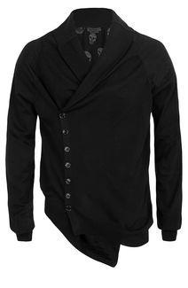 Alexander McQueen Menswear Black Asymmetric Cardigan
