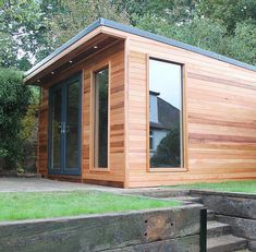 Crusoe Garden Rooms create affordable and stylish hand crafted cedar clad wooden garden rooms, garden offices and bespoke garden buildings Garden Office Shed, Backyard Office, Backyard Sheds, Garden Lodge, Garden Cabins, Studio Shed, Garden Studio, Cedar Garden, Wooden Garden