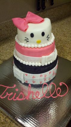 Hello Kitty birthday cake for a two year old.     Uploaded by Pamela on Friday Jan 18 04:18:31 2013  Submitted into the February, 2013 Inkedibles Contest
