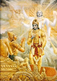 Arjuna pleading with Lord Sri Krsna