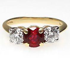 TIFFANY & CO ENGAGEMENT RING RUBY & DIAMOND THREE STONE SOLID 18K GOLD PLATINUM