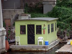 A Tiny Houseboat Near The University Bridge In Seattle.