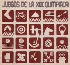 """Mexico City, 1968 Olympics, event logos. (I collected these """"badges"""" - they came in snack foods, candies, etc)"""