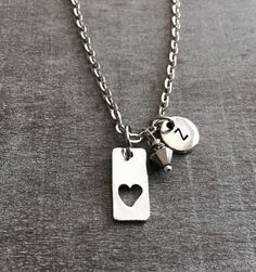 Love Necklace, Love Pendant, Gift for Wife, Gift for Girlfriend, I love you, Heart charm, Silver Necklace, Silver Jewelry, Gifts, Love Charm by SAjolie, $16.95 USD