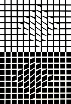 Optical art by Vasarely, points form a positive and negative shape