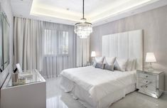 Elegant All bright white luxury white bedroom decor with channel tufted headboard bed, monochromatic white glam bedroom decor