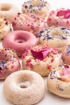 Rubys of London - Baked Donuts - Vegan, Wheat Free & Gluten Free Available Donuts Vegan, Baked Doughnuts, Vegan Wedding Cake, Doughnut Cake, Delicious Donuts, Vegetable Protein, Cute Desserts, Vegetarian Breakfast, Donut Recipes