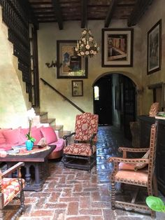Spanish Colonial architecture and furniture at The Gallery Inn, San Juan, Puerto Rico