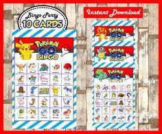 Pokemon Bingo 10 Cards printable Pokemon Bingo game Pokemon | Etsy Pokemon Printables, Printable Bingo Games, Printable Cards, Happy Valentines Day Photos, Valentine Bingo, Valentine Day Cards, 9th Birthday Parties, Birthday Party Games, 5th Birthday