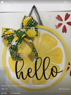Dollar Tree Decor, Dollar Tree Crafts, Summer Crafts, Holiday Crafts, Lemon Kitchen Decor, Kitchen Ideas, Front Door Decor, Front Porch, Craft Night