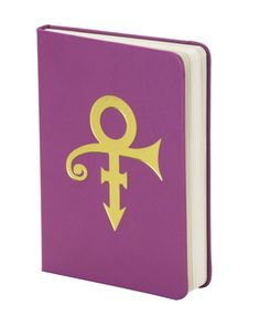 This elegant hardcover journal features a purple vegan leather cover with gold foil graphics: Prince's Love Symbol on the front and the Paisley Park logo on the back. It measures 5x7 inches and has 100 lined pages. Integrated elastic band holds the cover securely closed.