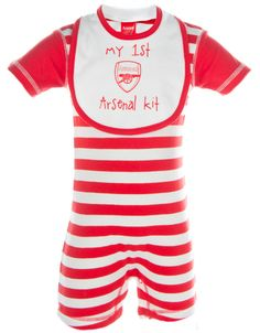8a23cd696 Arsenal Striped Romper   Bib Set Football Outfits
