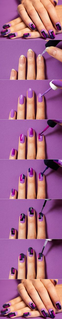 block nail painting tutorial