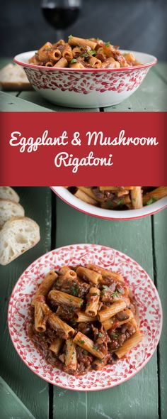 Whole wheat rigatoni is tossed in rich, flavorful eggplant and mushroom tomato sauce. Red wine and balsamic vinegar add a really nice flavor to the sauce.