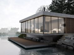 Glass house on the river