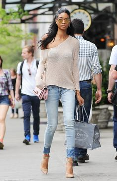Light denim and neutral knits = dreamy dressing from Chanel Iman
