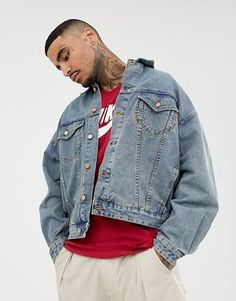 ASOS DESIGN oversized denim jacket in mid wash Oversized Denim Jacket, Denim  Jacket Men, ae25cb0e8998