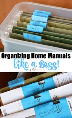 Home Manuals Like a Boss! Keep your important papers in order with these Organizing Home Manuals tips and tricks!Keep your important papers in order with these Organizing Home Manuals tips and tricks! Organizing Paperwork, Clutter Organization, Household Organization, Home Office Organization, Paper Organization, Organizing Your Home, File Cabinet Organization, Organizing Paper Clutter, Organizing Documents
